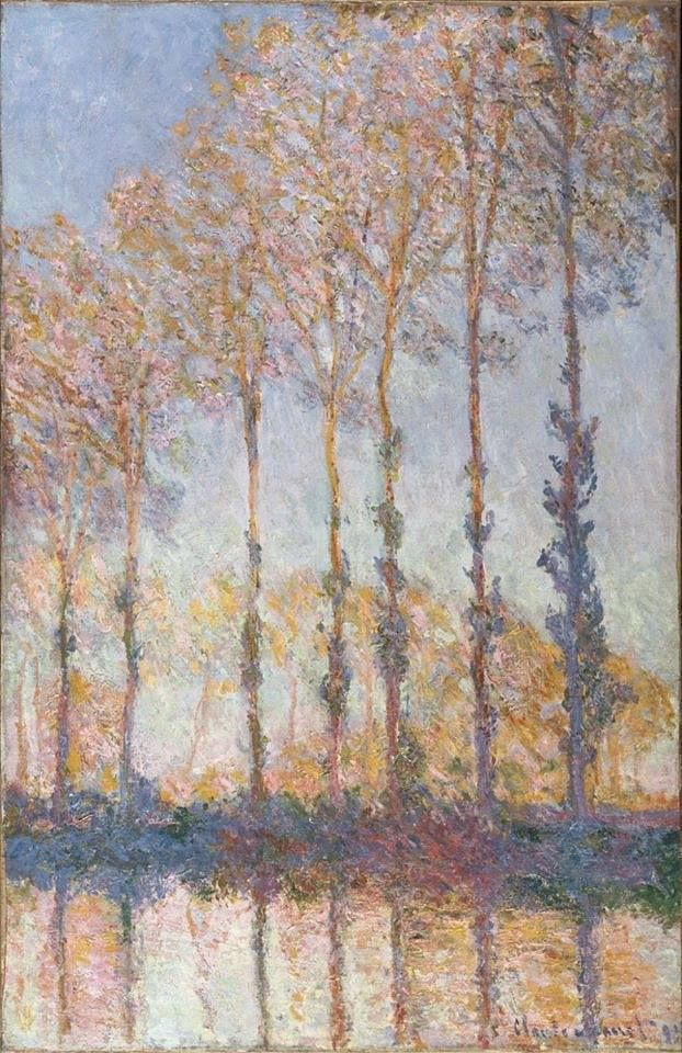 """https://www.facebook.com/MiaFeigelson """"Poplars on the banks of the River Epte"""" (1891) By Claude Monet, from Paris (1840 - 1926) - oil on canvas; 100.3 x 65.2; 39 1/2 x 25 11/16 in - © Philadelphia Museum of Art , Philadelphia, Pennsylvania, US Bequest of Anne Thomson in memory of her father, Frank Thomson, and her mother, Mary Elizabeth Clarke Thomson, 1954 http://www.philamuseum.org/ https://www.facebook.com/philamuseum"""