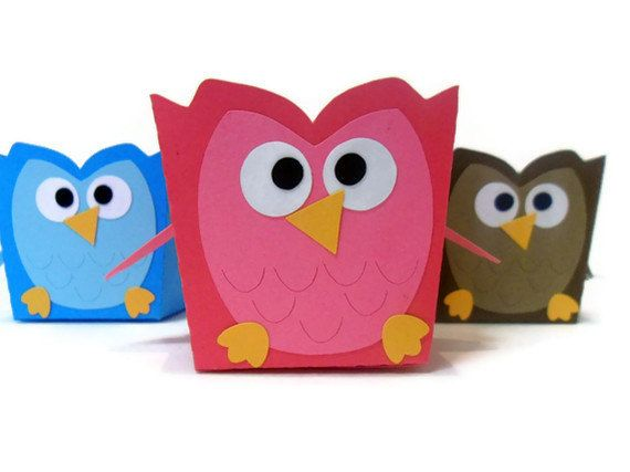 Owl Favor Box   - @Tammie Gortner Edwards (I can see doing a version of this with chinese takeout containers in fun colors & fill with whatever . . . you can find the containers locally)