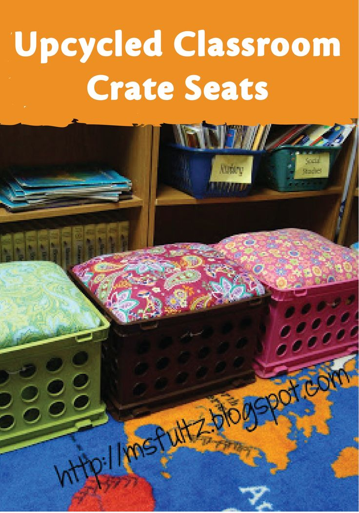 These fun upcycled crate seats are a great and affordable addition to a classroom library!