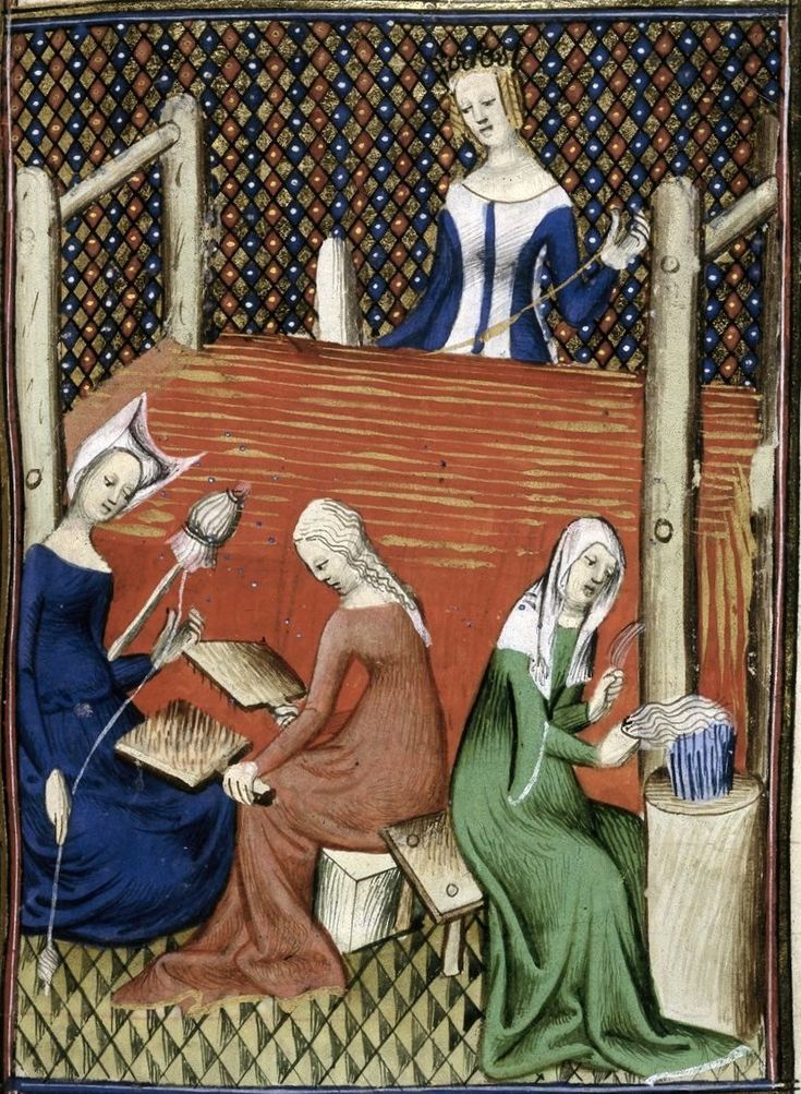 Weaving, spinning, carding wool, and combing flax. MS Royal 16 Gv, f. 56, British Library, London  France 1400s