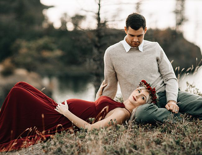 Romantic Red Maternity Photos in Portland - Inspired by This