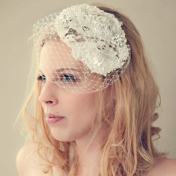 Ivory Lace Sequin Beaded Birdcage Veil by ChantillyLaceDesigns, $128.00
