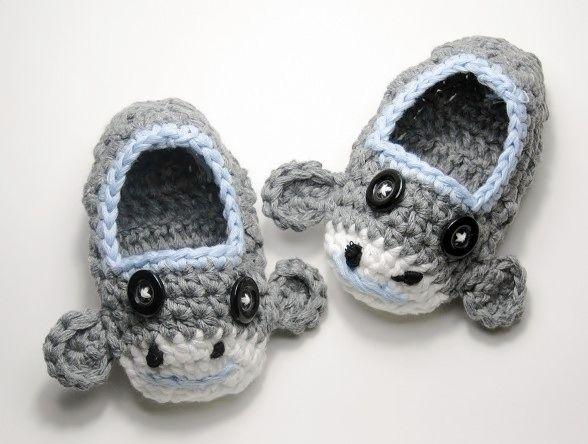 Light Gray & Blue Sock Monkey Crochet Slippers-