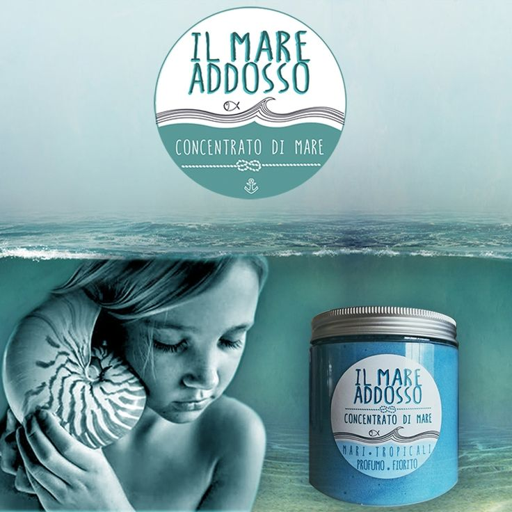 Il Mare addosso - Tropical Sea Flower Perfume Concentrate of sea-based sea salt, vegetable oil, nori seaweed, pearl powder. Multi-purpose product for face, body, hands, feet. Cleanser, scrub, skin regenerating treatment. Organic, Vegan, no GMO.