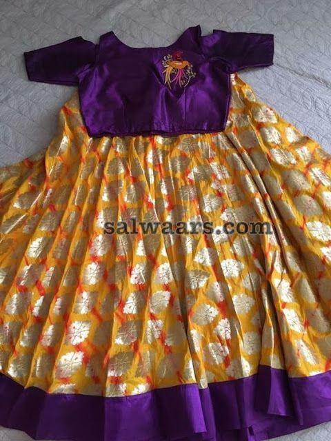 Yellow Printed Lehenga Purple Blouse - Indian Dresses