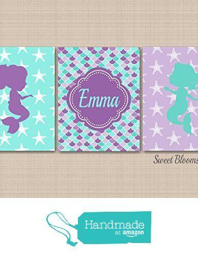 Mermaid Décor,Mermaid Wall Art,Mermaid Room Decor,Mermaid Nursery,Sea Animals Bathroom Wall Art,Mermaid Bathroom,Purple Teal Mermaid Art-UNFRAMED set of 3 PRINTS (NOT CANVAS) from Sweet Blooms Decor https://www.amazon.com/dp/B01KE5MSGY/ref=hnd_sw_r_pi_awdo_Y.jyybA68BZVH #handmadeatamazon