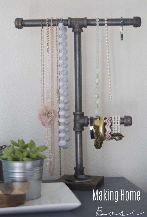 DIY Jewelry Organization with an Industrial Pipe Jewelry Organizer