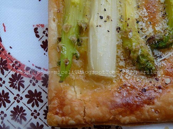 Ricetta Antipasto : Asparagi al parmigiano su sfoglia croccante alla senape da Mariluna