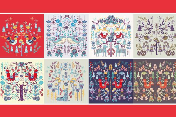 Set Scandinavian Style Illustration Floral And Animal