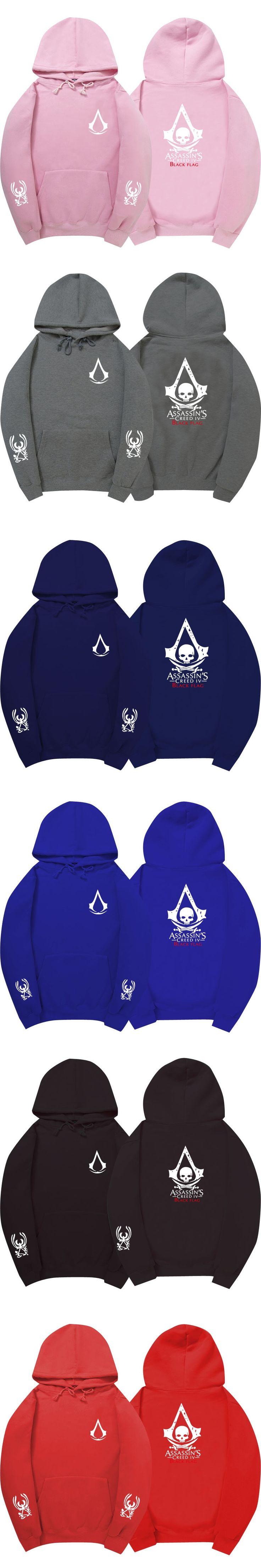 hoodies men 2017 Winter Assasins Creed Hoodie Black Cosplay Sweatshirt Costume Fleece Lined Assassins Creed hoodies sweatshirt