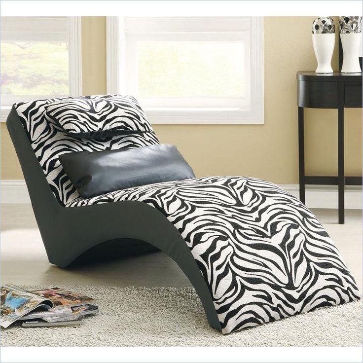 Coaster Accent Seating Modern Zebra Print Furniture Chaise