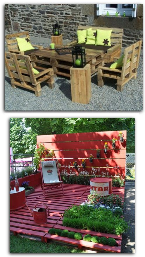 25 best pallet floors trending ideas on pinterest wood - Construction salon de jardin en palette ...