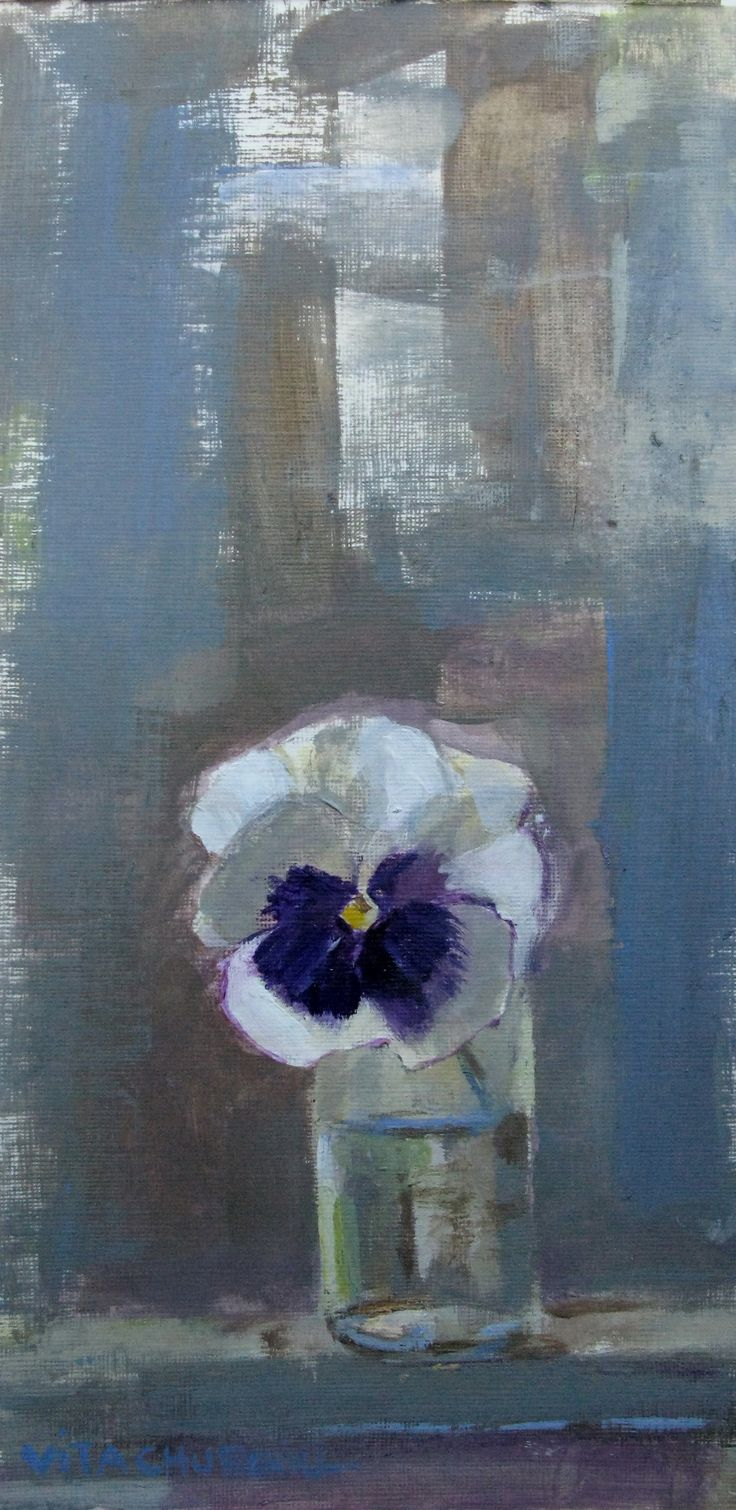 """Urban Pansy.  Acrylic on Strathmore acrylic paper, 6"""" x 8"""". I painted this pansy - one of the first ones to appear after a long Canadian winter."""