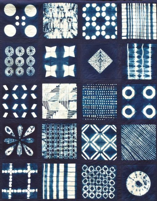 Love the blues of indigo and all the amazing shapes that can be produced by shibori techniques.
