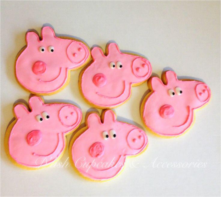 Peppa pig cookies. Peppa pig cookie cutter avaiable at www.dlishcookies.com