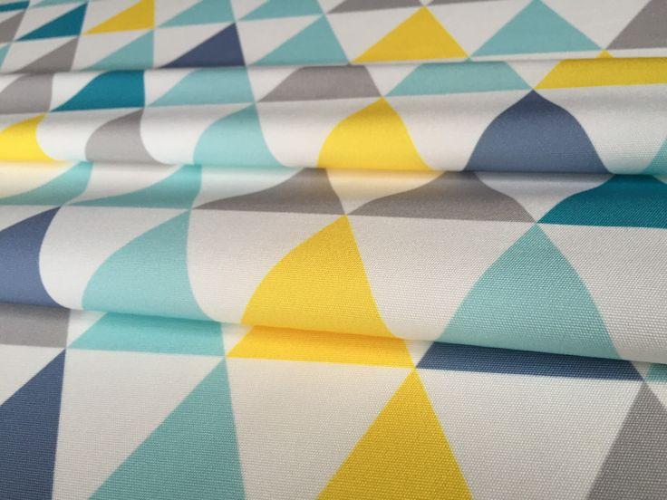 tissu ameublement enfant en 140cmx50cm motif triangles jaunes gris turquoise sur fond blanc - Rideaux Gris Voilage De Quel Couleur