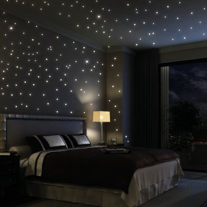 Wandtattoo Loft 203 stelline fluorescenti adesive ((rappresentato come puntini) cielo stellato punti luminosi stelle luminose e punti di luce-pellicola autoadesiva