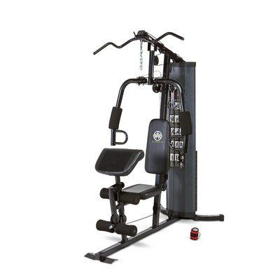 Marcy Home Gym. Heavy duty, 14 gauge steel tube frame. 150 lb. vinyl-coated weight stack. Dual function press arm performs chest pressing and pec fly exercises. High and low pulley stations. Dual function leg developer with pivot point that properly aligns with the knee joints. Lat station. Oversized forum roller pads add comfort while performing leg exercises. All cables rated at 2,000 lb. tensile strength. Durable powder coated finish. Adjustable preacher curl bicep pad for isolated…