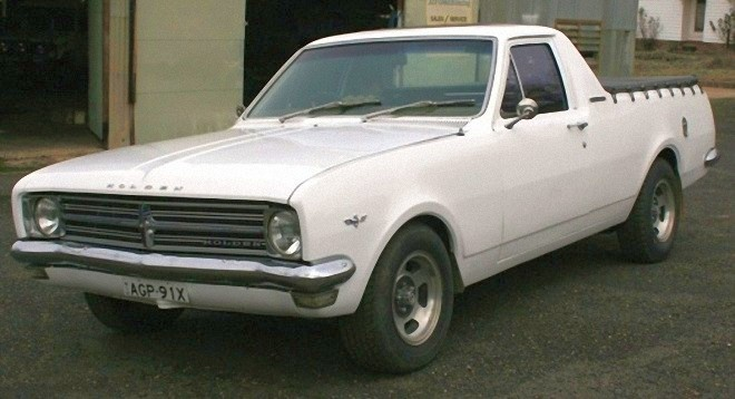 A White 1968 Holden HK Ute  3 on the tree 161 motor not like this one