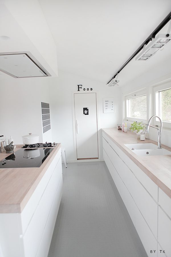 Modern white kitchen with wooden tops