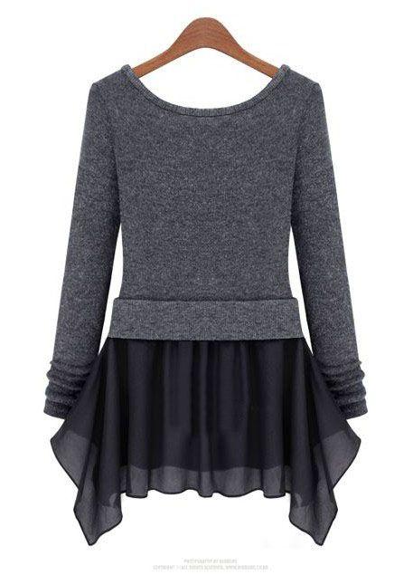 Dark Grey Long Sleeve Ruffles Pockets Dress