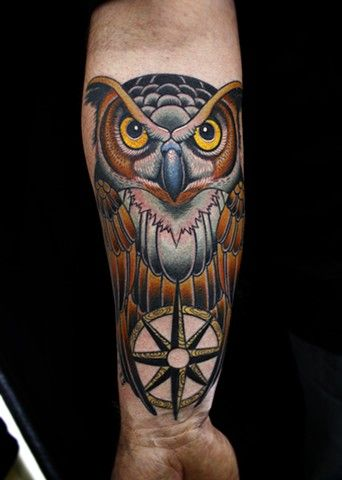 Owl Compass Tattoos Owl And Compass Tattoo By Dave Compass Tattoo Design Traditional Owl Tattoos Tattoos