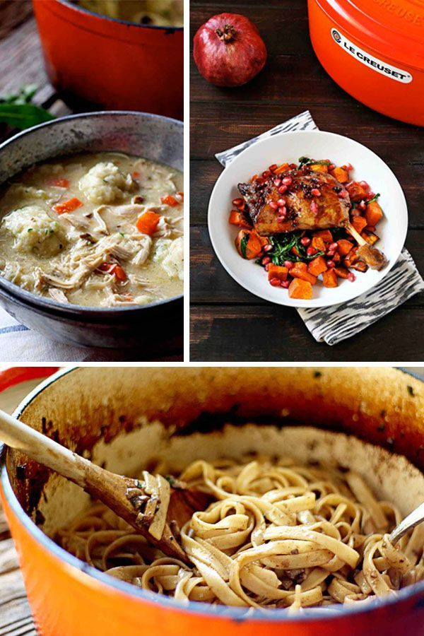 15 Recipes To Make In Your Dutch Oven. I love mine! These are easy and basically one pot meals. Perfect for weeknight dinner when you are back to school. These dutch ovens make a mean chicken.