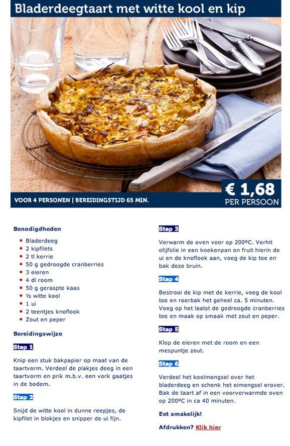 Bladerdeegtaart met witte kool en kip - Lidl Nederland
