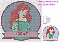 schema punto croce gratis per cuscino principessa disney ariel