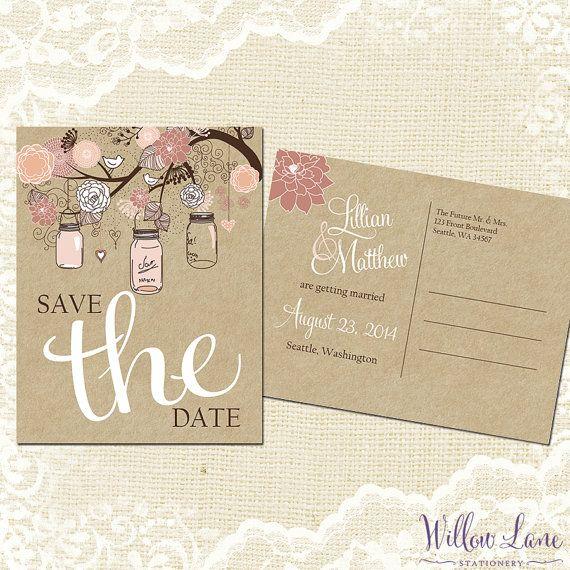 Save the Date Postcard - Vintage Mason Jar Save the Date Card - Peach Blush Pink Save the Date - Kraft Rustic Barn Wedding - 4003 -PRINTABLE...