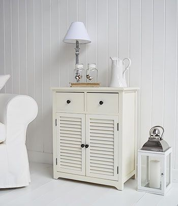 Hamptons cream sideboard with cupboard and drawers for living room