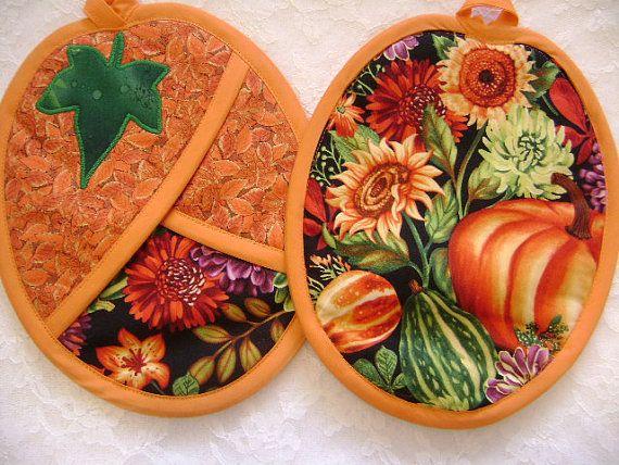 Pumpkin Potholders Thankgiving Oven Mitts by VernieLeeDesigns