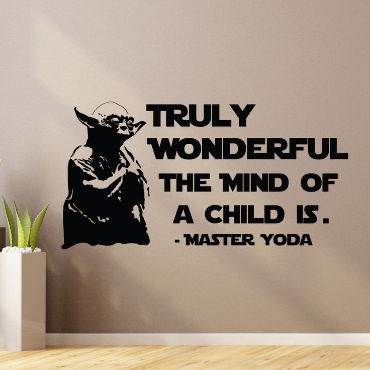 Yoda Wall Decal Quote Truly Wonderful The Mind Of Child Is- Star Wars Wall Decal Vinyl Sticker Bedroom Dorm Boys Teens Room Wall Decor Z895 by WisdomDecals on Etsy https://www.etsy.com/listing/259844311/yoda-wall-decal-quote-truly-wonderful
