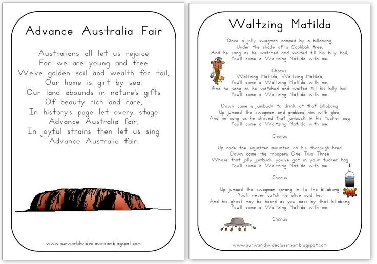 Free Printable Australia Day Learning Packet. Advance Australia Fair, Waltzing Matilda