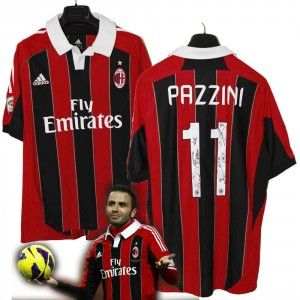 #perlamaglia campaign A.C. Milan 2012-13 Pazzini #11 original adidas jersey with few players autographs