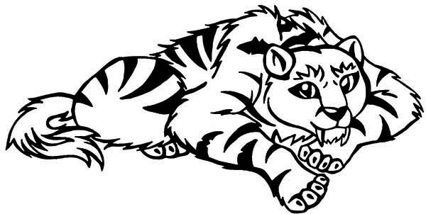 Tiger A Cartoon Illustration Of Sabretooth Tiger Coloring Page
