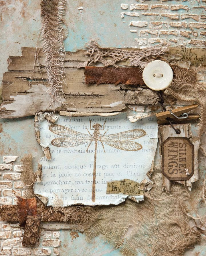 """""""As much as nature-themed art with a delicate appearance appeals to me, I have found myself increasingly drawn to setting birds, butterflies, and, in this instance, a dragonfly against a more urban, industrial surrounding … The contrast can also heighten the sense of beauty, of catching sight of delicate fluttering wings against the rust and debris of urban life."""" — Lynne Moncrieff 