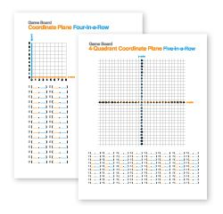 This printable math strategy game helps students practice plotting coordinates and ordered pairs on a Cartesian plane.