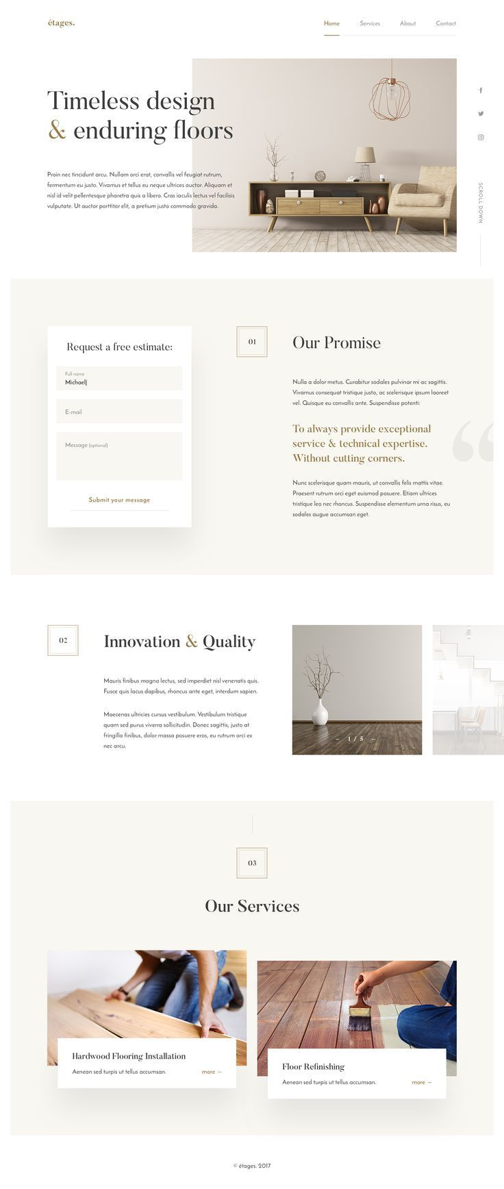 Hey Guys Some Time Ago I Designed A Website For Wood Flooring Company The Font Pairing H Minimal Web Design Website Design Services Web Layout Design