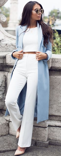 Fall fashion | White crop top and high waist flared pants with long ice blue coat