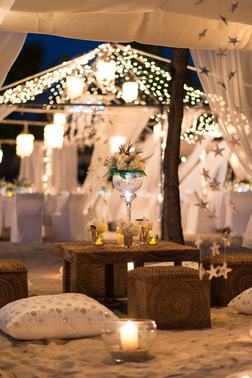 """Would LOVE to have a couple of these little """"tent"""" areas on the beach with cushions and fairy lights and low tables for our guests to relax and enjoy the ocean breeze with a drink during the cocktail hour and/or reception!"""