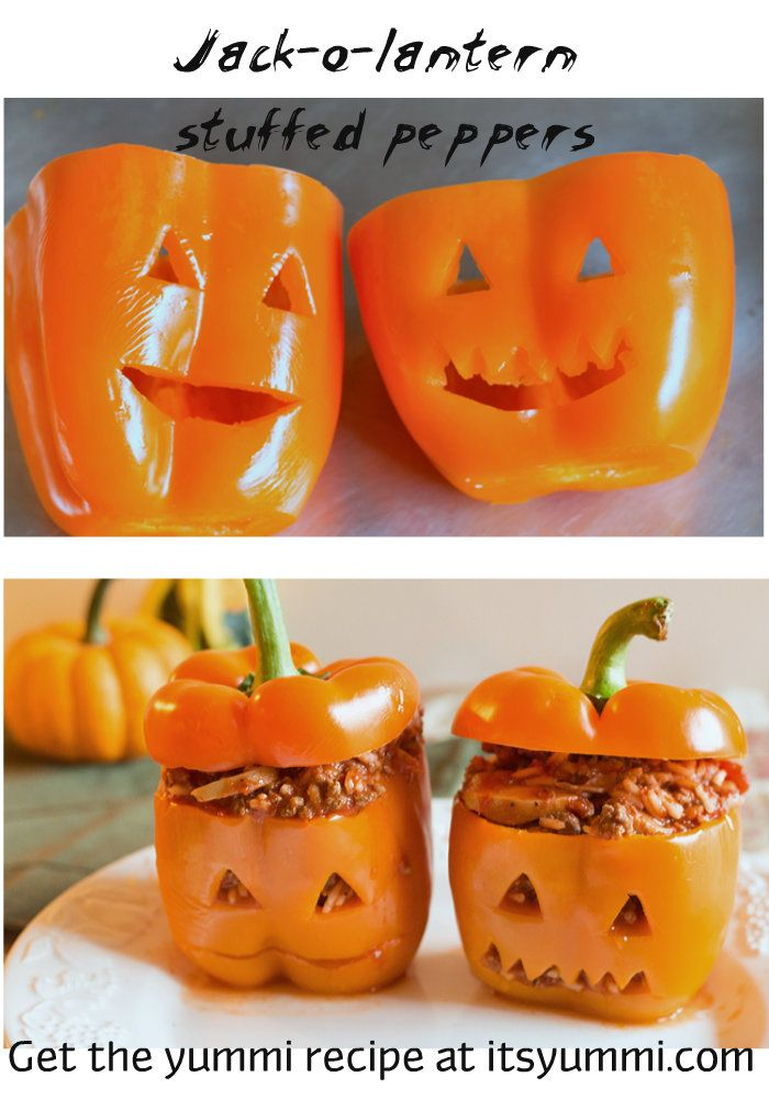 Jack-o-Lantern Stuffed Peppers  just use orange bell peppers and a small paring knife to cut out jack-o-lantern faces. Stuff with your choice of filling.