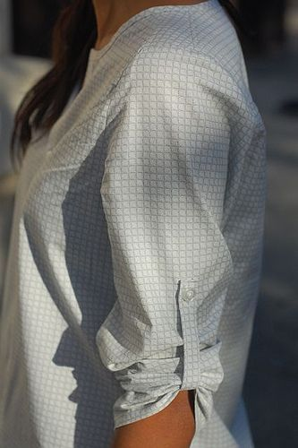 shirt refashion--use cuffs to create the sleeve tab