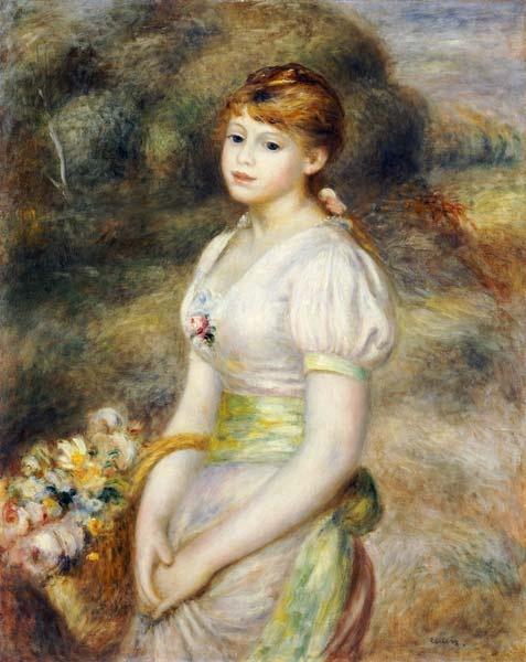 renoir, young girl with a basket of flowers