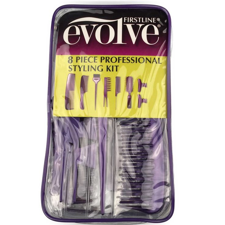 Evolve Professional Styling Kit. Complete 8 pc home professional styling kit includes everything you need for styling at home. Includes dresser comb, detangling comb, applicator brush, pick comb, rat tail comb, vent brush. Also includes two clips for separating and styling hair. High-quality tools for your everyday at home styling needs. Includes durable, zipper storage case.