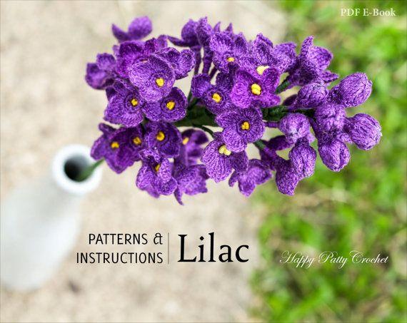 Tocado flor del ganchillo lila patrón - patrón de ganchillo Flor lila de decoración para el hogar y ramo de novia - ramo de flores de primavera-