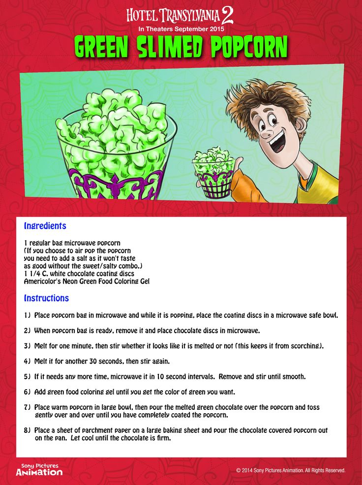 Start your Hotel Transylvania movie night right with some slime in this easy recipe for Green Slimed Popcorn! Don't worry, it's really just white chocolate.