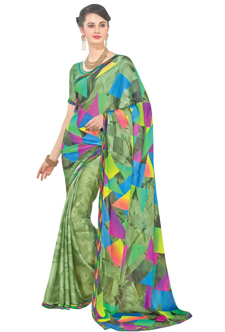 #Green #Faux Georgette #Printed #Saree #nikvik  #usa #designer #australia #canada #freeshipping #dress #saris