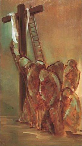 Dolores Puthod Les pleureuses 1994 olio su tela cm. 45x80 Collezione  Museo PaoloVI Concesio Brescia