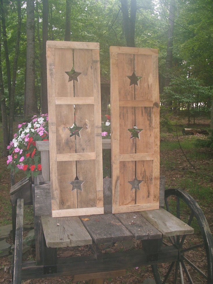 182 best images about primitive americana decorating ideas for Timber shutters